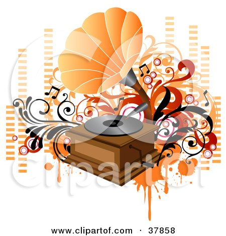Clipart Illustration of a Vintage Orange And Wooden Phonograph Playing Music, With Orange And Red Vines, Circles And Equalizer Bars by OnFocusMedia