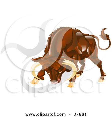 Clipart Illustration of Taurus The Bull Lowering His Head, With The Zodiac Symbol  by AtStockIllustration