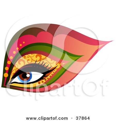 Clipart Illustration of a Beautiful Blue Woman's Eye With Glamorous Patterned Makeup by OnFocusMedia