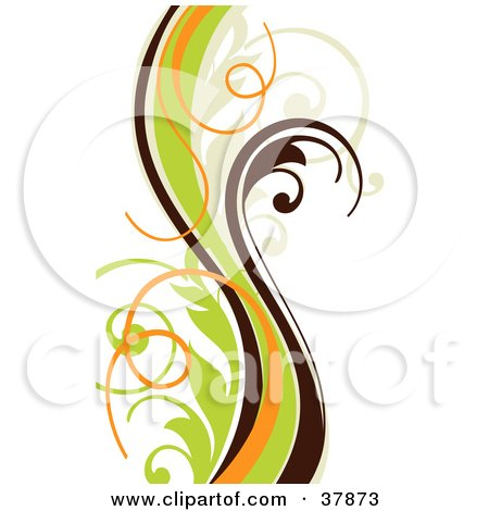 Clipart Illustration of a Brown, Orange, Beige And Green Vine by OnFocusMedia