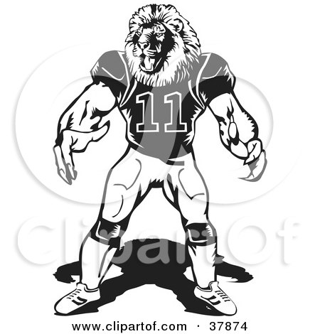Clipart Illustration of a Black And White Lion Football Player by David Rey