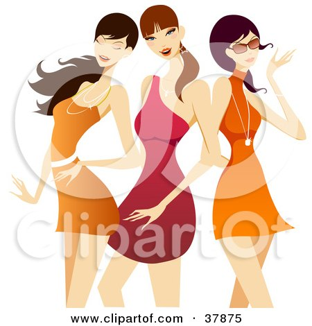 Clipart Illustration of Three Flirty Pretty Ladies In Red And Orange Dresses by OnFocusMedia