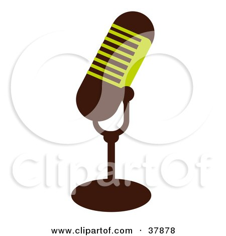 Clipart Illustration of a Green And Brown Microphone by OnFocusMedia