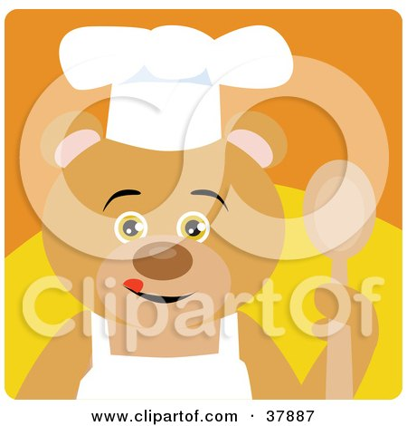 Clipart Illustration of a Cooking Bear In An Apron And Chefs Hat, Holding A Spoon by Dennis Holmes Designs