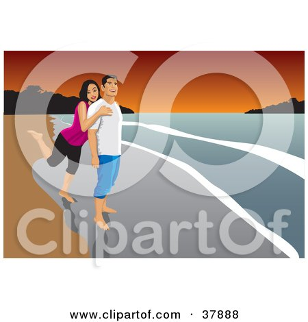 Clipart Illustration of a Happy Young Couple Embracing And Standing In The Surf On A Beach At Sunset by David Rey