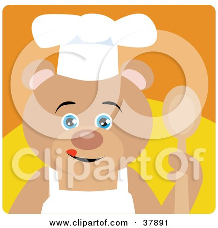 Clipart Illustration of a Culinary Chef Teddy Bear In An Apron And Chefs Hat, Holding A Spoon by Dennis Holmes Designs