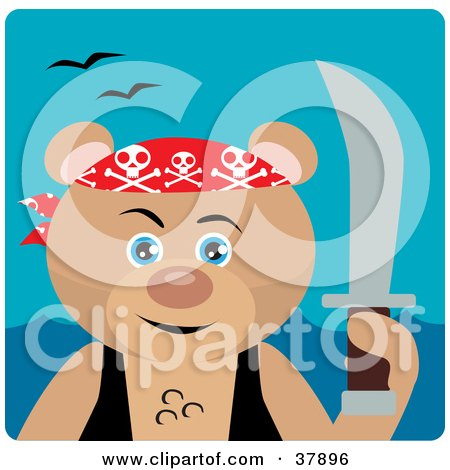 Clipart Illustration of a Teddy Bear Pirate With A Sword by Dennis Holmes Designs
