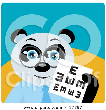 Clipart Illustration of a Giant Panda Bear Optometrist In Spectacles, Holding Up An Eye Chart by Dennis Holmes Designs