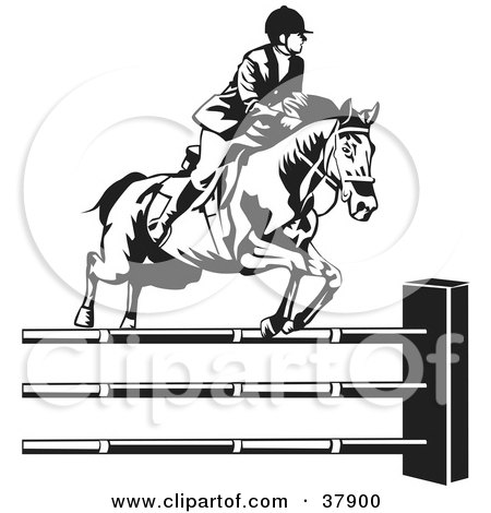 Clipart Illustration of a Black And White Rider Leading A Horse To ...