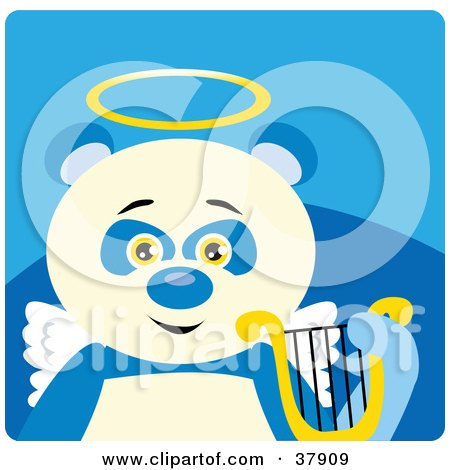 Clipart Illustration of an Angel Panda Bear With A Halo, Wings And Lyre by Dennis Holmes Designs