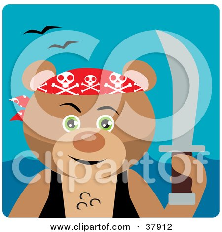 Clipart Illustration of a Brown Bear Pirate Holding up a Sword by Dennis Holmes Designs