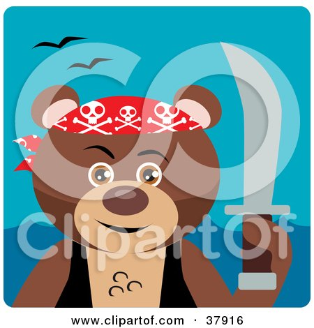 Clipart Illustration of a Pirate Bear With A Sword by Dennis Holmes Designs