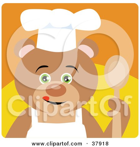 Clipart Illustration of a Culinary Bear In An Apron And Chefs Hat, Holding A Spoon by Dennis Holmes Designs