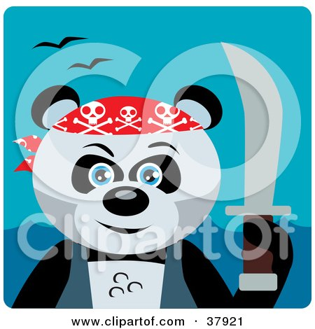 Clipart Illustration of a Giant Panda Bear Pirate With A Sword by Dennis Holmes Designs