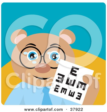 Clipart Illustration of a Teddy Bear Optometrist In Spectacles, Holding Up An Eye Chart by Dennis Holmes Designs
