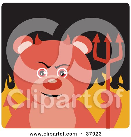 Clipart Illustration of a Devil Bear With Horns And A Pitchfork, Standing In Flames by Dennis Holmes Designs