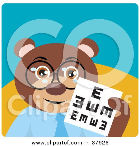 Clipart Illustration of an Optometrist Bear In Spectacles, Holding Up An Eye Chart by Dennis Holmes Designs