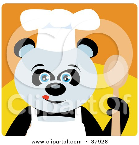 Clipart Illustration of a Panda Bear Chef In An Apron And Chefs Hat, Holding A Spoon by Dennis Holmes Designs