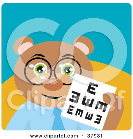 Clipart Illustration of a Friendly Optometry Bear Wearing Glasses and Holding an Eye Chart by Dennis Holmes Designs