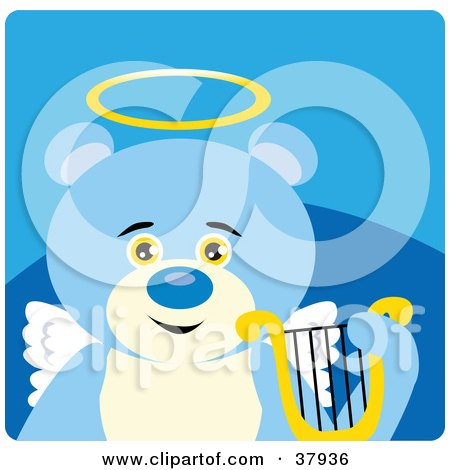 Clipart Illustration of an Innocent Blue Teddy Bear Angel With A Halo, Wings And Lyre by Dennis Holmes Designs