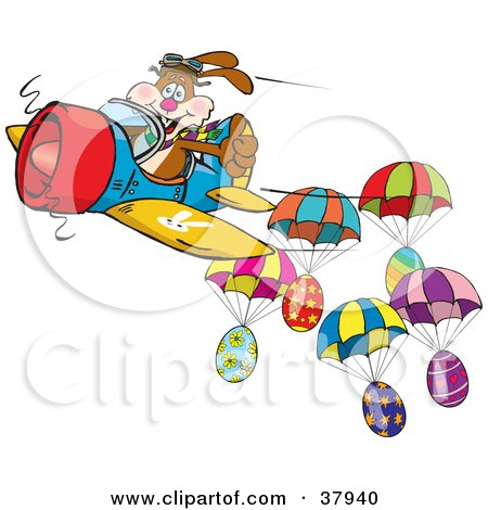 Brown Pilot Bunny Flying An Airplane Near Parachuting Easter Eggs Posters, Art Prints