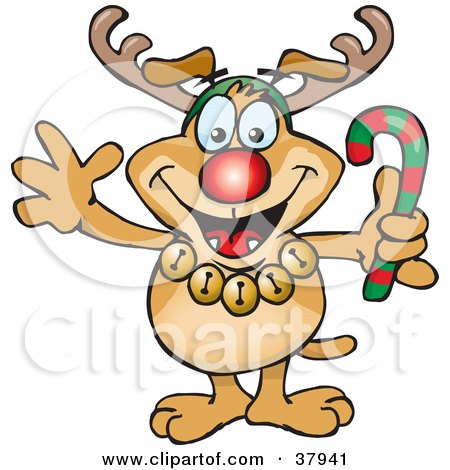 Clipart Illustration of a Festive Brown Dog Wearing Jingle Bells, Holding A Candy Cane And Dressed Like Rudolph The Red Nosed Reindeer by Dennis Holmes Designs