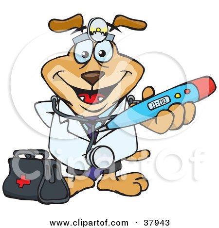 Clipart Illustration of a Doctor Dog Wearing A Head Lamp And Holding Out A Blue Thermometer by Dennis Holmes Designs
