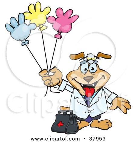 Clipart Illustration of a Pediatrician Dog Standing With A Medicine Bag And Holding Colorful Hand Shaped Balloons by Dennis Holmes Designs