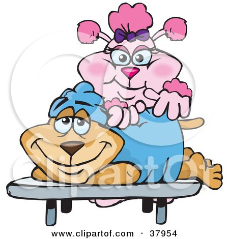 http://images.clipartof.com/small/37954-Clipart-Illustration-Of-A-Pink-Poodle-Masseuse-Massaging-A-Relaxed-Dogs-Back.jpg