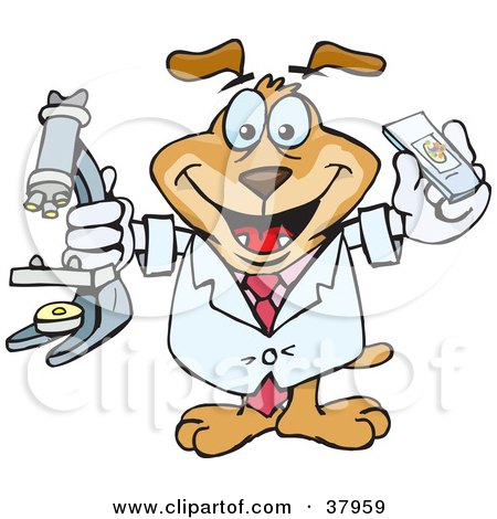 Clipart Illustration of a Scientist Dog Holding Samples And A Microscope by Dennis Holmes Designs