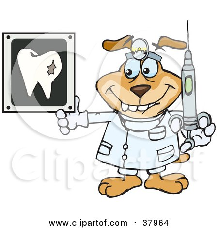 Clipart Illustration of a Dentist Dog Wearing A Head Lamp, Holding A Syringe And Looking At A Tooth Xray by Dennis Holmes Designs
