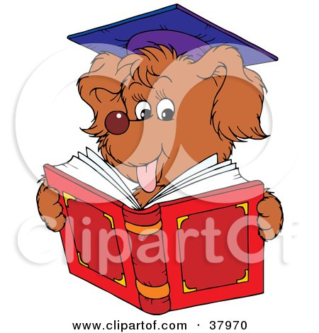 Clipart Illustration of a Graduate Dog Reading by Alex Bannykh