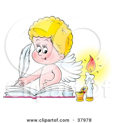 Clipart Illustration of a Blond Angel Signing A Wedding Book By A Candle by Alex Bannykh