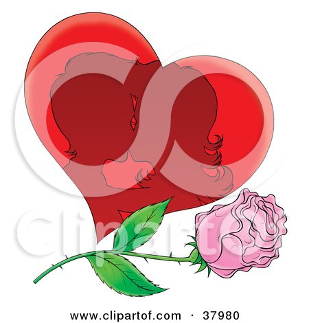 Clipart Illustration of a Silhouetted Kissing Couple In A Heart With A Pink Rose by Alex Bannykh