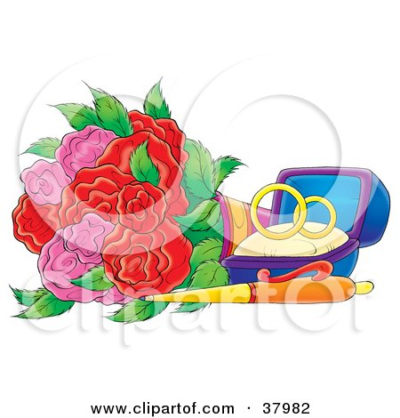 Clipart Illustration of Wedding Rings In A Box By A Pen And Roses by Alex