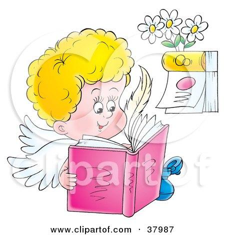 Clipart Illustration of a Happy Angel Reading A Book Near A Calendar by Alex Bannykh