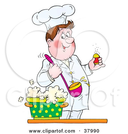 Clipart Illustration of a Smiling Male Chef Holding A Ladle Over A Pot Of Soup, Preparing To Season It With Salt by Alex Bannykh