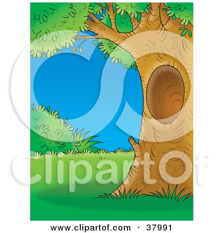 Clipart Illustration of a Mature Tree With A Hole, Framing A Scene Of Lush Lawn And Bushes by Alex Bannykh
