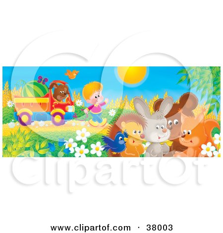 Clipart Illustration of a Boy Waving To A Bird, Hedgehog, Rabbit, Bear And Fox, While Pulling A Watermelon And His Puppy N A Truck by Alex Bannykh