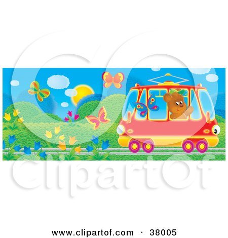 Clipart Illustration of a Friendly Bear Waving At Butterflies While Riding Past In A Rail Car by Alex Bannykh