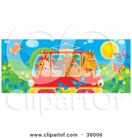 Clipart Illustration of a Horse, Bear, Cat, Pig And Chicken Crowded Into A Rail Car, Passing A Meadow With Butterflies And Flowers by Alex Bannykh