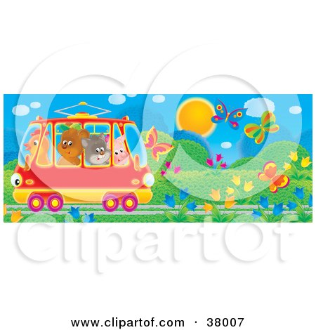 Clipart Illustration of a Crowded Tram Car With A Chicken, Bear, Cat And Pig, Riding Through A Garden Of Flowers And Butterflies by Alex Bannykh