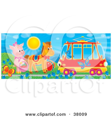 Clipart Illustration of a Bird In A Tram Car Passing A Pig And Horse By Butterflies And Flowers by Alex Bannykh