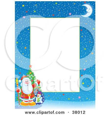 Clipart Illustration of a Starry Winter Night Christmas Border With Santa, A Christmas Tree And Toy Sack by Alex Bannykh