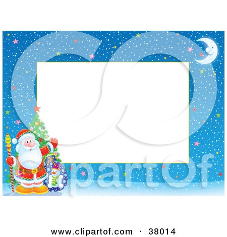 Santa Waving And Standing With A Christmas Tree Toy Sack On Winter Night Stationery Border