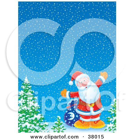 Clipart Illustration of Santa With His Sack Of Toys, Standing By Trees On A Winter Night by Alex Bannykh