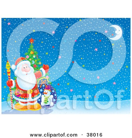 Clipart Illustration of Santa In Front Of A Christmas Tree, On A Starry Winter Background by Alex Bannykh