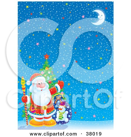 Clipart Illustration of Santa With A Tree And Toy Sack In The Corner Of A Starry Christmas Background by Alex Bannykh
