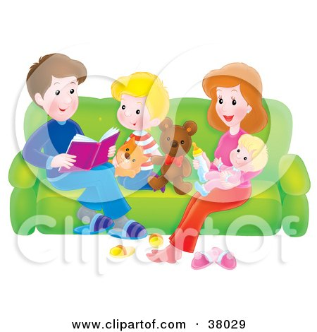 Clipart Illustration of a Father Reading A Story To His Children And Wife As They Relax On A Couch by Alex Bannykh