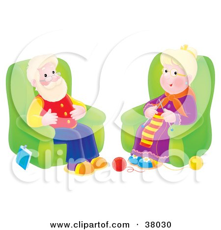 Clipart Illustration of a Happy Senior Woman Knitting And Sitting In A Chair By Her Husband by Alex Bannykh